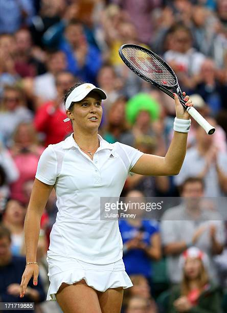 Laura Robson of Great Britain celebrates victory during her Ladies' Singles second round match against Mariana DuqueMarino of Colombia on day five of...