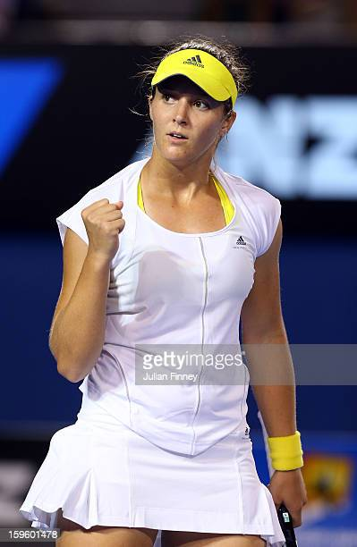 Laura Robson of Great Britain celebrates winning the second set in her second round match against Petra Kvitova of Czech Republic during day four of...