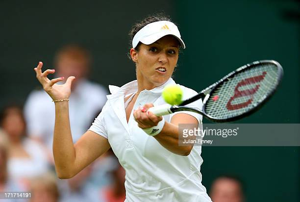 Laura Robson of Great Britain hits a forehand during her Ladies' Singles second round match against Mariana DuqueMarino of Colombia on day five of...