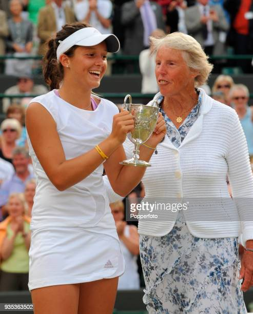 Laura Robson of Great Britain holding the trophy following her victory over Noppawan Lertcheewakarn of Thailand in the Girls' Singles Final at...