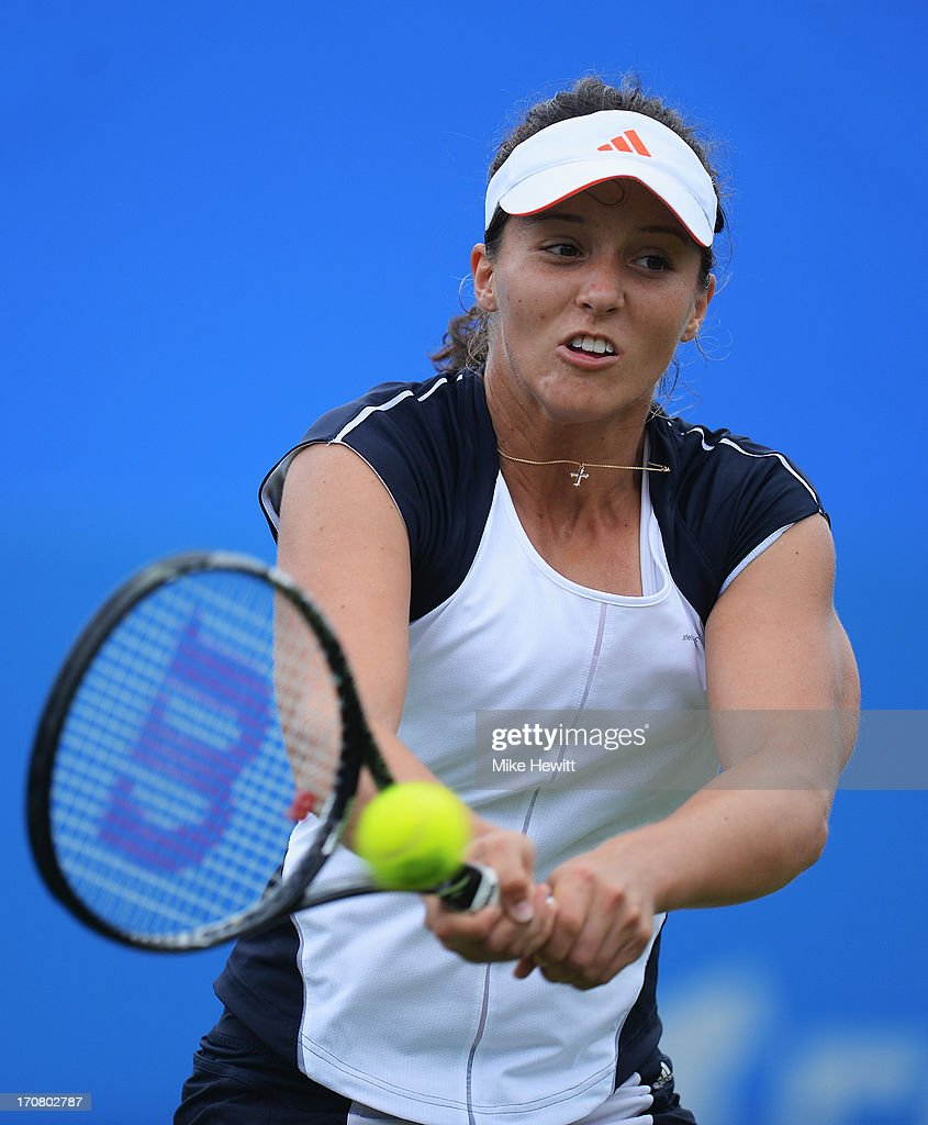 Laura Robson of Great Britain in action against Yuliya Beygelzimer of Ukraine during Day Four of the AEGON Internationa at Devonshire Park on June 18, 2013 in Eastbourne, England.