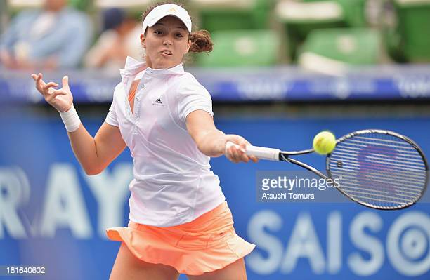 Laura Robson of Great Britain in action during her women's singles first round match against Ayumi Morita of Japan during day two of the Toray Pan...