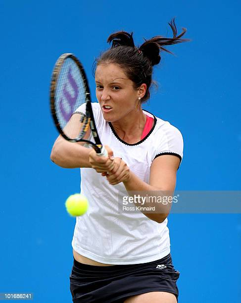 Laura Robson of Great Britain in action during the first round match between Laura Robson and Stefanie Voegele in The AEGON Classic at the Edgbaston...
