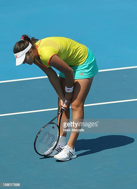 Laura Robson of Great Britain looks dejected after losing a point in her first round match against Sloane Stephens of the USA during day three of the...
