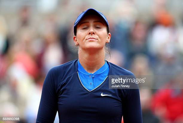 Laura Robson of Great Britain looks dejected during the Women's Singles first round match against Andrea Petkovic of Germany on day three of the 2016...
