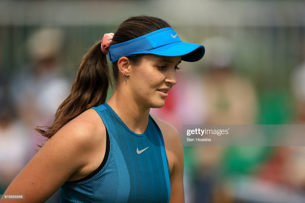 Laura Robson of Great Britain looks on during Day Five of the Nature Valley Open at Nottingham Tennis Centre on June 13, 2018 in Nottingham, United Kingdom.