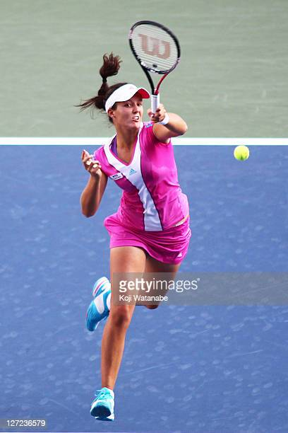 Laura Robson of Great Britain plays a backhand in her match against Ana Ivanovic of Serbia during the day three of the Toray Pan Pacific Open at...