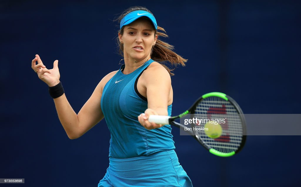 Laura Robson of Great Britain plays a forehand during her doubles match on Day Five of the Nature Valley Open at Nottingham Tennis Centre on June 13, 2018 in Nottingham, United Kingdom.