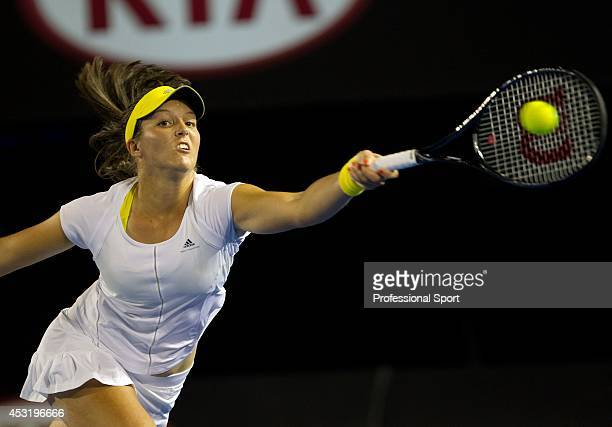 Laura Robson of Great Britain plays a forehand during her second round match against Petra Kvitova of Czech Republic on day four of the 2013...