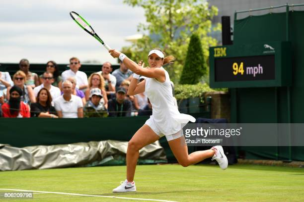 Laura Robson of Great Britain plays a forehand during the Ladies Singles first round match against Beatriz Haddad Maia of Brazil on day one of the...
