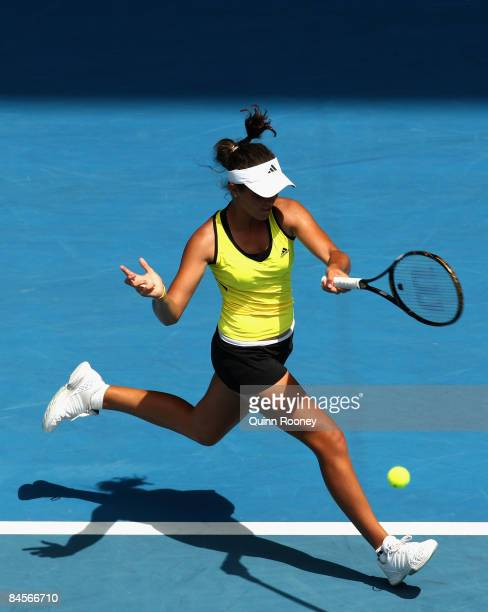 Laura Robson of Great Britain plays a forehand in her junior girls final match against Ksenia Pervak of Russia during day thirteen of the 2009...