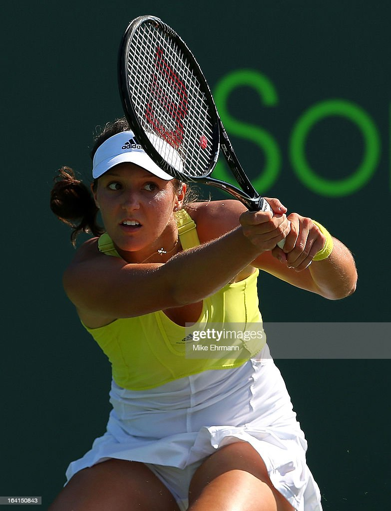 Laura Robson of Great Britain plays a match against Camila Giorgi of Italy during Day 3 of the Sony Open at Crandon Park Tennis Center on March 20, 2013 in Key Biscayne, Florida.