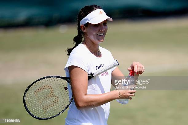 Laura Robson of Great Britain reacts during during a training session on Middle Sunday at Wimbledon on June 30 2013 in London England