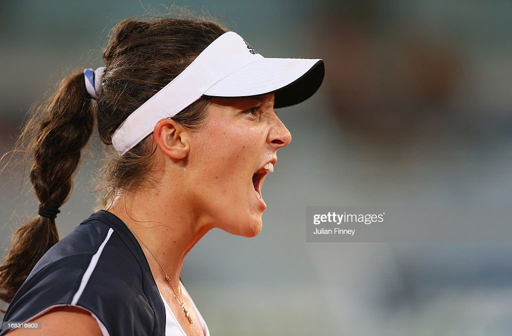 Laura Robson of Great Britain reacts in her match against Ana Ivanovic of Serbia during day five of the Mutua Madrid Open tennis tournament at the Caja Magica on May 8, 2013 in Madrid, Spain.