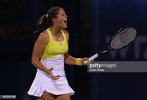 Laura Robson of Great Britain reacts in her match against Yulia Putintseva of Kazakhstan during day one of the WTA Dubai Duty Free Tennis...