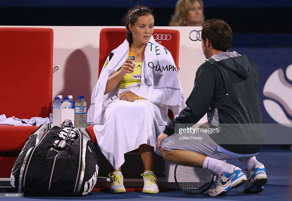Laura Robson of Great Britain receives advice from coach, Zeljko Krajan in her match against Yulia Putintseva of Kazakhstan during day one of the WTA Dubai Duty Free Tennis Championship on February 18, 2013 in Dubai, United Arab Emirates.