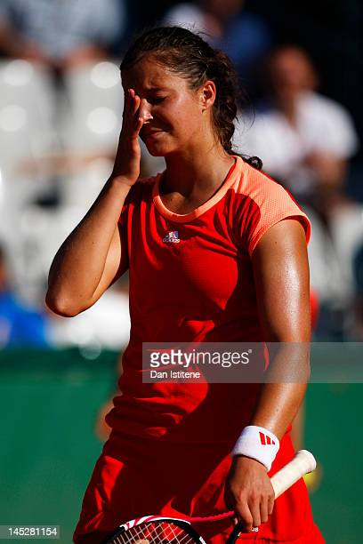 Laura Robson of Great Britain shows her dejection after losing against Karolina Pliskova of Czech Republic during their women's singles third round...
