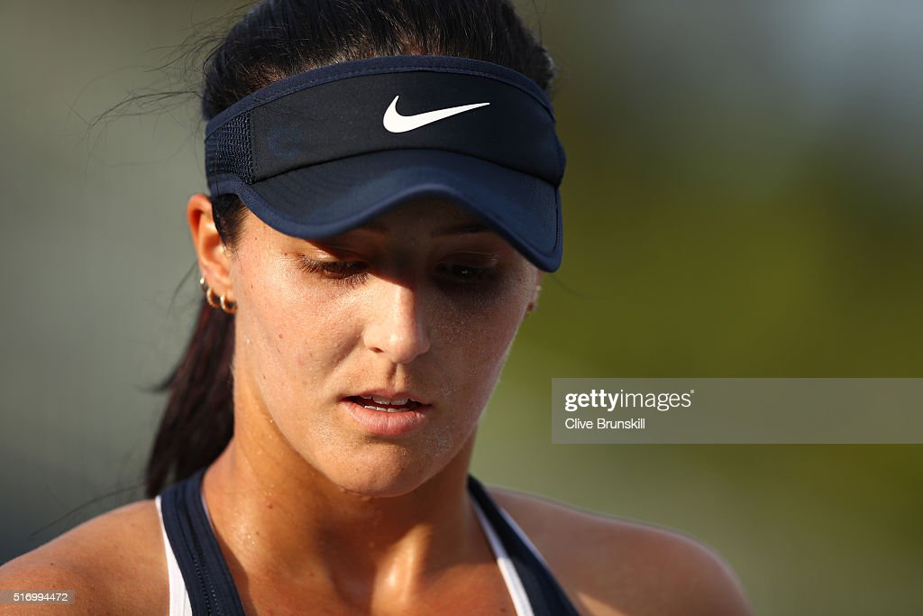 Laura Robson of Great Britain shows her frustration during her first round match against Kirsten Flipkens of Belgium during the Miami Open Presented by Itau at Crandon Park Tennis Center at Crandon Park Tennis Center on March 22, 2016 in Key Biscayne, Florida.