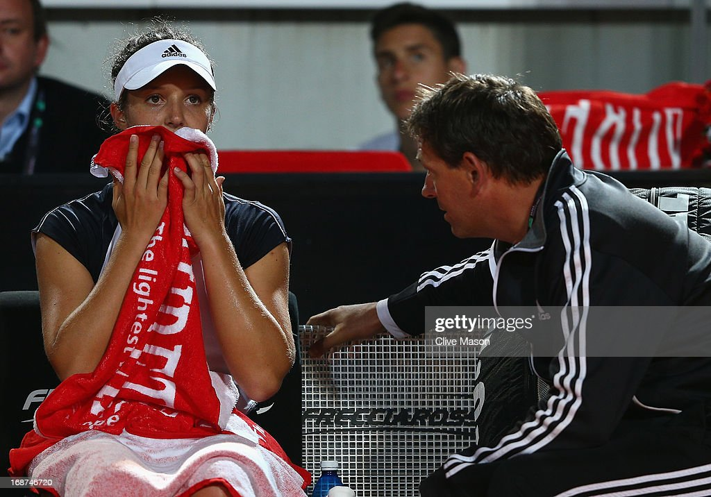 Laura Robson of Great Britain tals with her coach during her second round match against Serena Williams of the USA on day three of the Internazionali BNL d'Italia 2013 at the Foro Italico Tennis Centre on May 14, 2013 in Rome, Italy.
