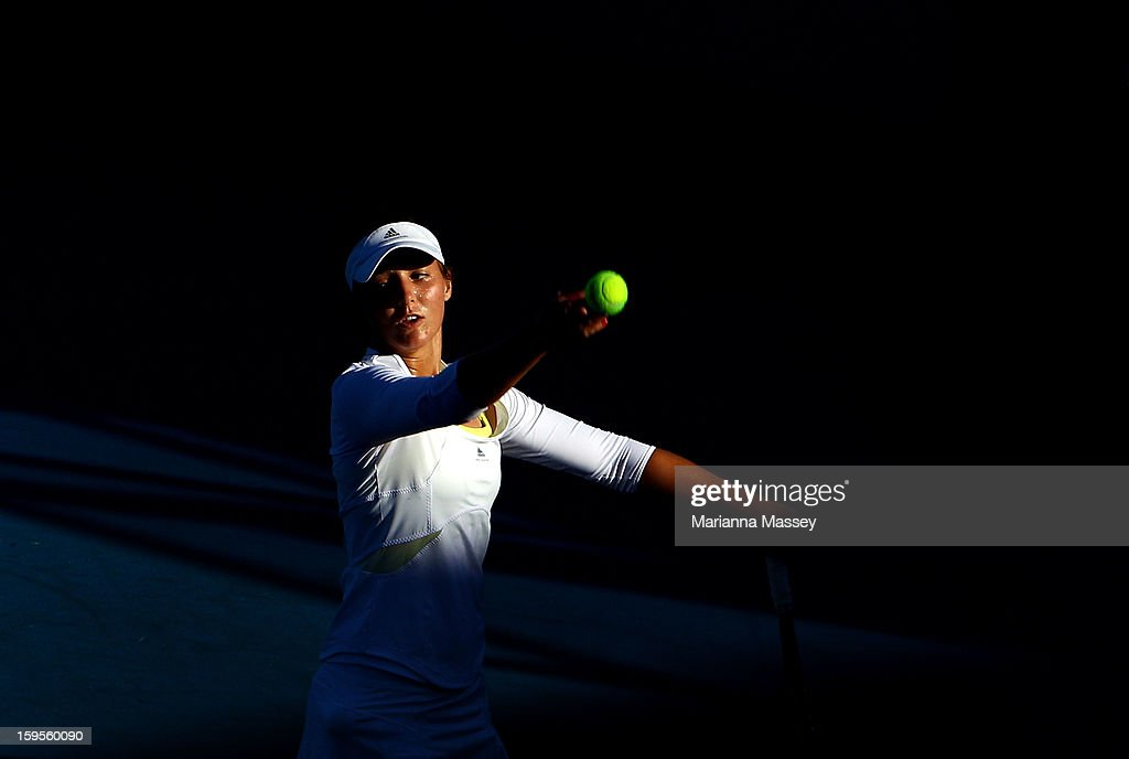 Laura Robson of the United Kingdom practices during day three of the 2013 Australian Open at Melbourne Park on January 16, 2013 in Melbourne, Australia.