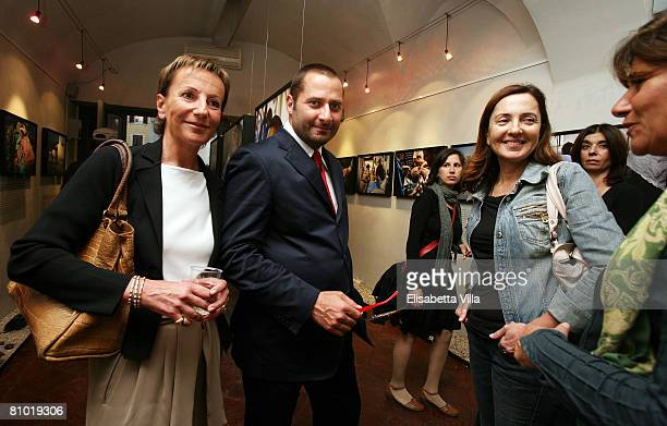 Laura Ronchi Marco Di Lauro and Barbara Palombelli attend the Casualties of the Nameless Opening Exhibition held at MOCA Studio on May 07 2008 in...