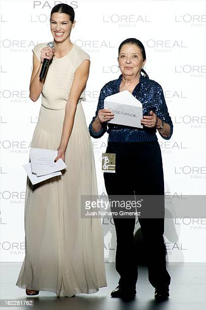 Laura Sanchez and Cuca Solana attend L'Oreal Award during Mercedes Benz Fashion Week Madrid Fall/Winter 2013/14 at Ifema on February 21 2013 in...