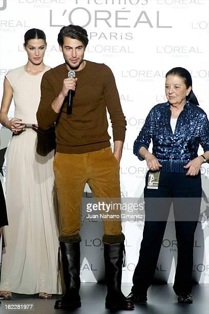 Laura Sanchez Antonio Navas and Cuca Solana attend L'Oreal Award during Mercedes Benz Fashion Week Madrid Fall/Winter 2013/14 at Ifema on February 21...