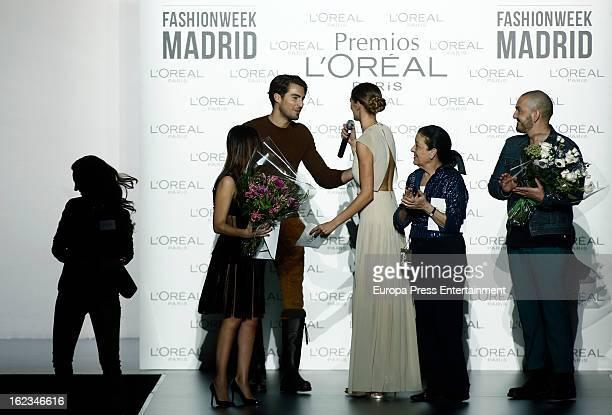 Laura Sanchez Antonio Navas Cuca Solana and Juan Duyos receive L'Oreal Award during Mercedes Benz Fashion Week Madrid Fall/Winter 2013/14 at Ifema on...