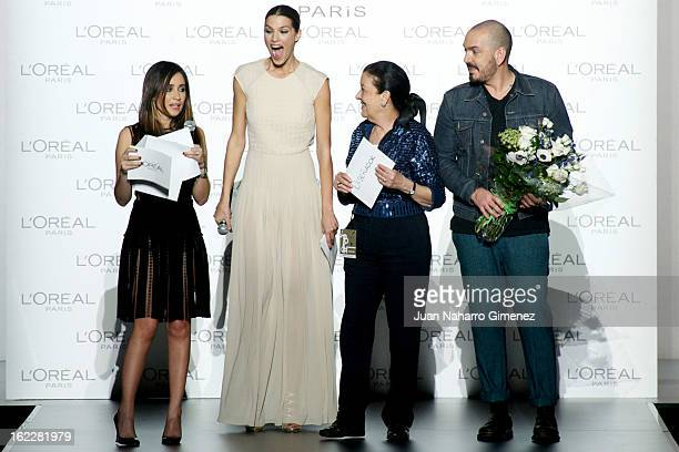 Laura Sanchez Cuca Solana and Juan Duyos attend L'Oreal Award during Mercedes Benz Fashion Week Madrid Fall/Winter 2013/14 at Ifema on February 21...