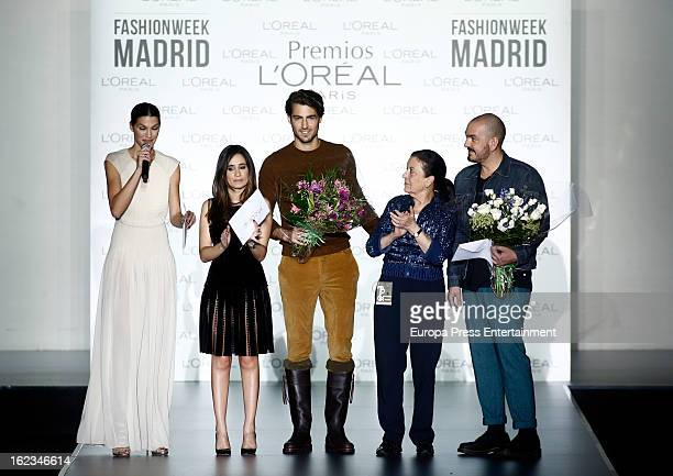 laura Sanchez guest Antonio Navas Cuca Solana and Juan Duyos attend L'Oreal Award during Mercedes Benz Fashion Week Madrid Fall/Winter 2013/14 at...