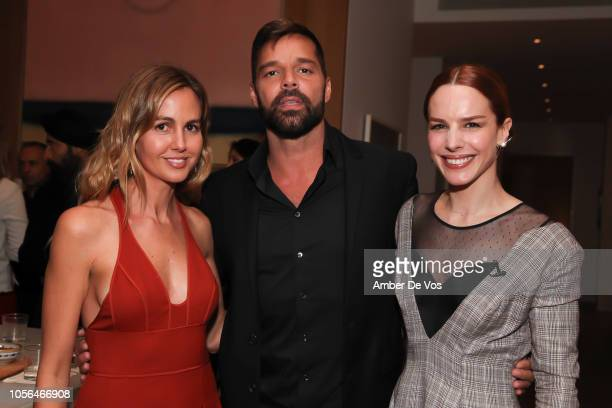 Laura Santos, Ricky Martin and Eglantina Zingg attend GOLEADORAS Celebrates United Nations Global Goals World Cup Winners at Private Residence on...
