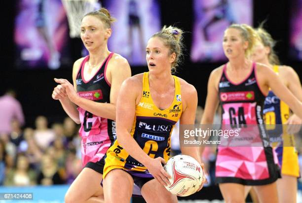 Laura Scherian of the Lightning looks to pass during the round nine Super Netball match between the Lightning and the Thunderbirds at Brisbane...
