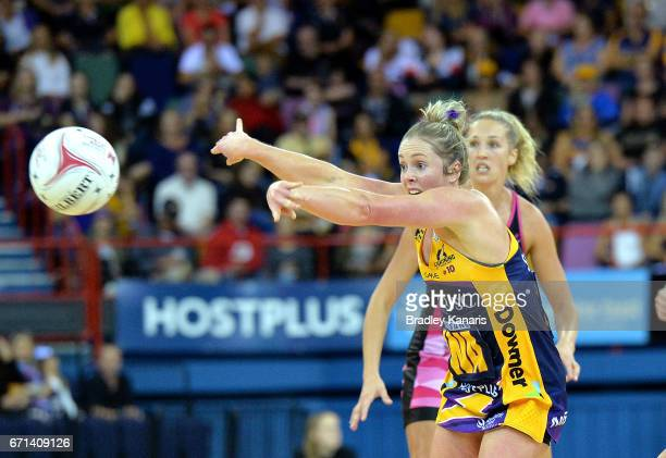 Laura Scherian of the Lightning passes the ball during the round nine Super Netball match between the Lightning and the Thunderbirds at Brisbane...
