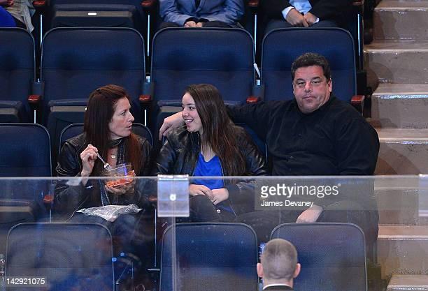 Laura Schirripa Ciara Schirripa and Steve Schirripa attend the Ottawa Senators vs New York Rangers game at Madison Square Garden on April 14 2012 in...