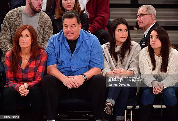 Laura Schirripa Steve Schirripa Bria Schirripa and Ciara Schirripa attend Boston Celtics Vs New York Knicks game at Madison Square Garden on December...