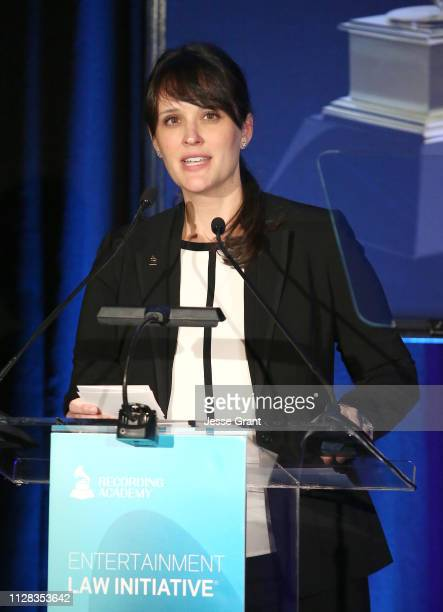 Laura Segura Mueller Vice President Membership Industry Relations Recording Academy speaks onstage during the 61st Annual GRAMMY Awards Entertainment...