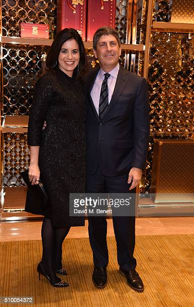 Laura Shell and Jeff Shell attend the Louis Vuitton preBAFTA party at the New Bond Street store on February 13 2016 in London England