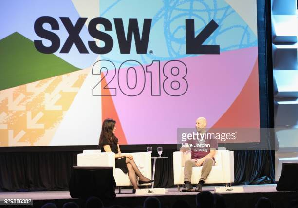 Laura Shin and Joseph Lubin speak onstage at Why Etherium is Going to Change the World during SXSW at Austin Convention Center on March 9 2018 in...