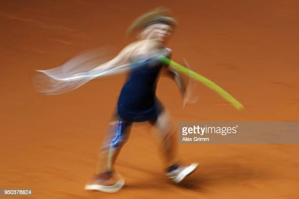Laura Siegemund in action during a show event on day 1 of the Porsche Tennis Grand Prix at PorscheArena on April 23 2018 in Stuttgart Germany