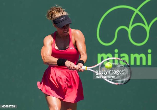 Laura Siegemund in action during the first round of the 2017 Miami Open on March 21 at Tennis Center at Crandon Park in Key Biscayne, FL.
