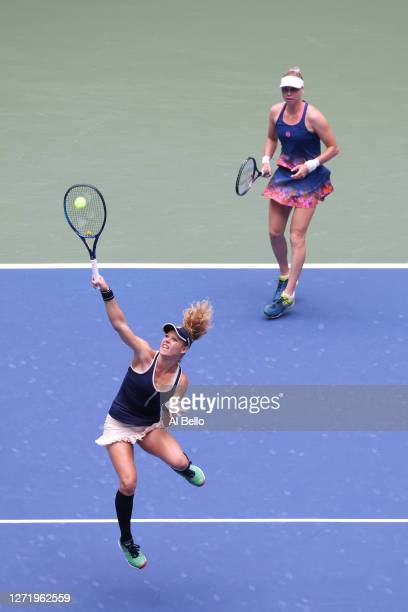 Laura Siegemund of Germany and Vera Zvonareva of Russia return the ball during their Women's Doubles final match against Nicole Melichar of the...