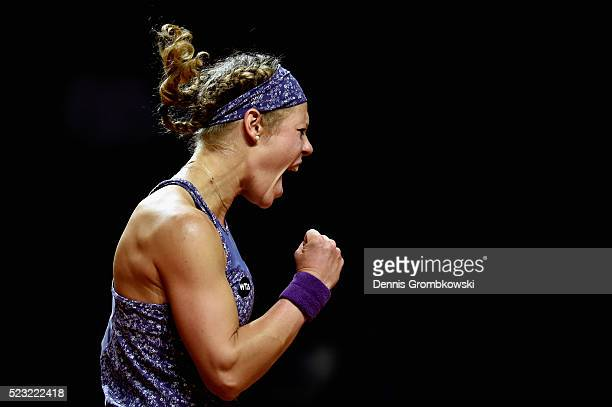 Laura Siegemund of Germany celebrates a point in her match against Roberta Vinci of Italy during Day 5 of the Porsche Tennis Grand Prix at...