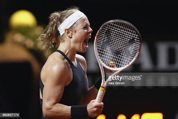 Laura Siegemund of Germany celebrates after winning her match against Barbora Strycova of Czech Republic during day 2 of the Porsche Tennis Grand...