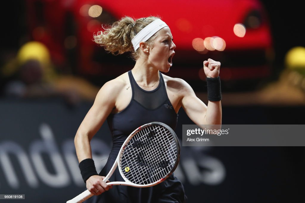 Laura Siegemund of Germany celebrates after winning the first set of her match against Barbora Strycova of Czech Republic during day 2 of the Porsche Tennis Grand Prix at Porsche-Arena on April 24, 2018 in Stuttgart, Germany.