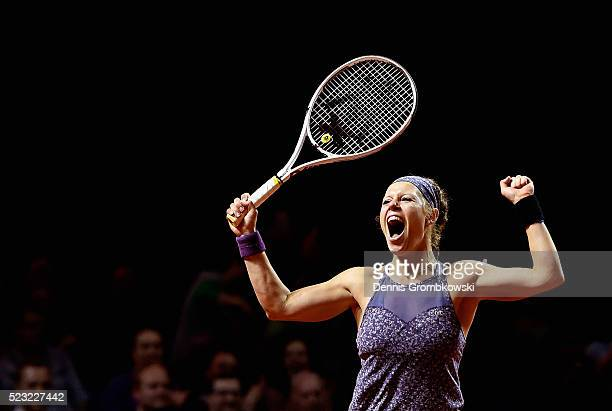 Laura Siegemund of Germany celebrates match point in her match against Roberta Vinci of Italy during Day 5 of the Porsche Tennis Grand Prix at...