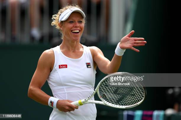Laura Siegemund of Germany celebrates victory in her Ladies' Singles first round match against Katie Swan of Great Britain during Day two of The...