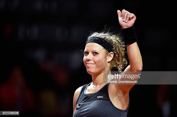 Laura Siegemund of Germany celebrates victory in her match against Polona Hercog of Slovenia during Day 1 of the Porsche Tennis Grand Prix at...