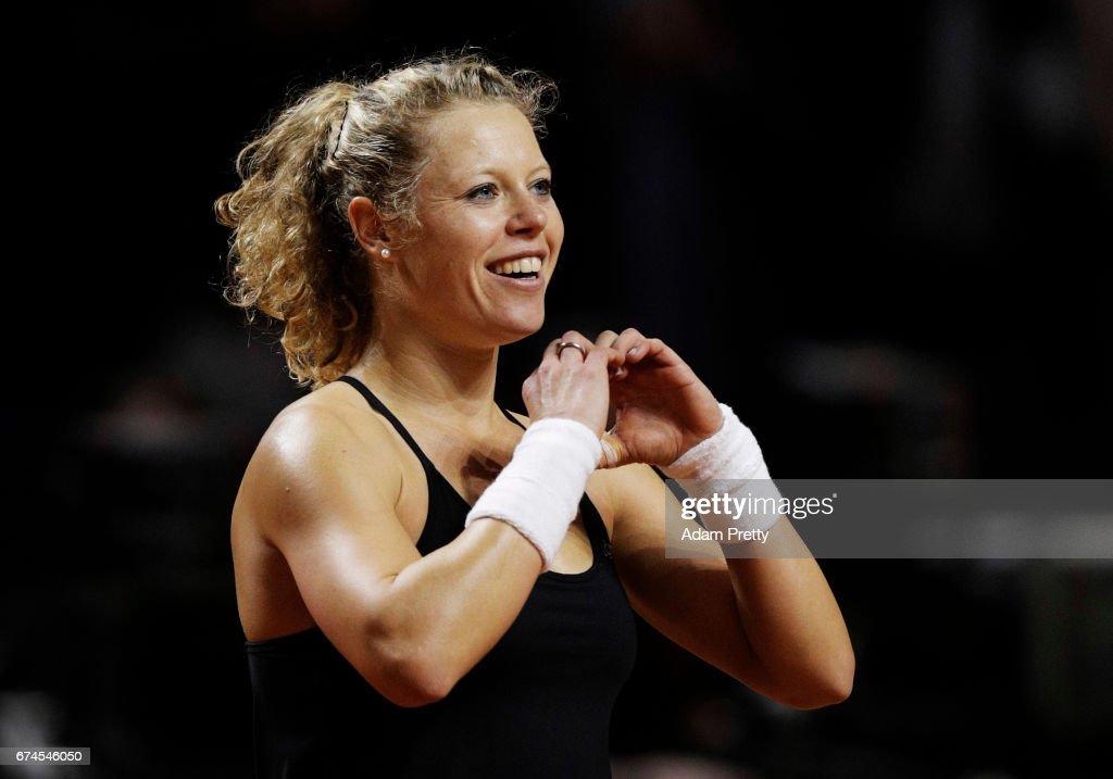 Laura Siegemund of Germany celebrates winniong match point during her match against Karolina Pliskova of the Czech Republic during the Porsche Tennis Grand Prix at Porsche Arena on April 28, 2017 in Stuttgart, Germany.