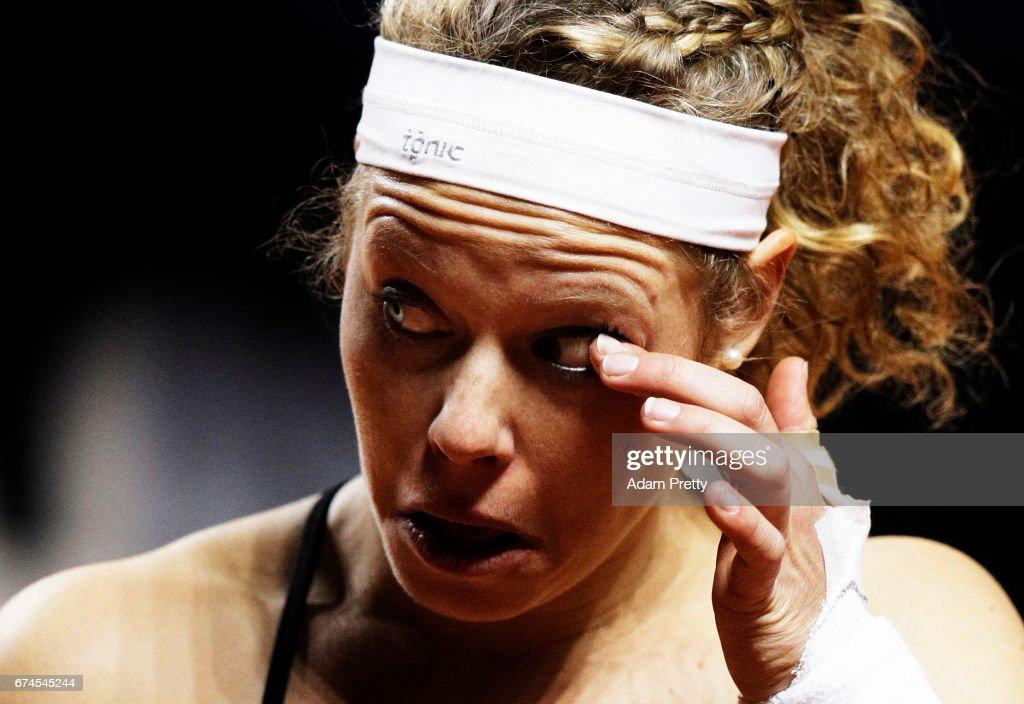 Laura Siegemund of Germany cleans her eye during her match against Karolina Pliskova of the Czech Republic during the Porsche Tennis Grand Prix at Porsche Arena on April 28, 2017 in Stuttgart, Germany.