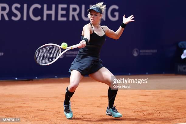 Laura Siegemund of Germany in action against Barbara Krejcikova of Czech Republic in the round of sixteen during the WTA Nuernberger Versicherungscup...